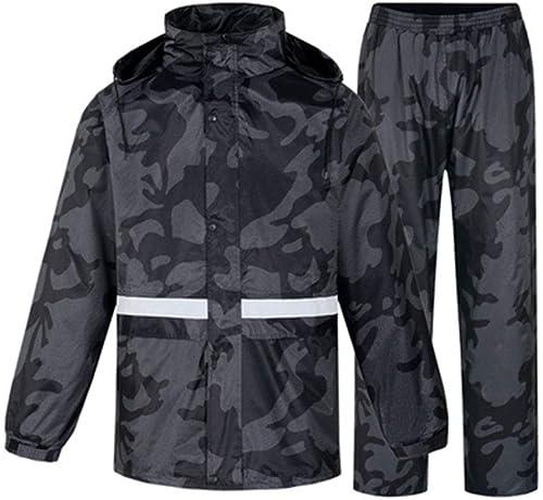 JTWJ Camouflage extérieur imperméable Pantalon de Pluie Costume Adulte Split randonnée randonnée pêche épaississeHommest imperméable male (Couleur   gris Camouflage, Taille   XL)