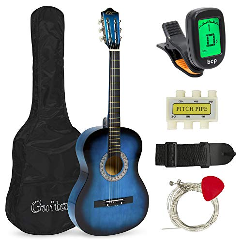 Price comparison product image Best Choice Products 38in Beginner Acoustic Guitar Starter Kit w / Case,  Strap,  Digital E-Tuner,  Pick,  Pitch Pipe,  Strings - Blue