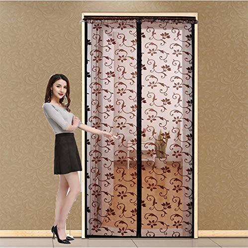 Fengz Magnetisch gordijn met klittenbandsluiting, duurzaam, vliegengaas, ademend, voor deuren, ramen, woonkamer, slaapkamer, balkon en zomer 120*220CM Zwart