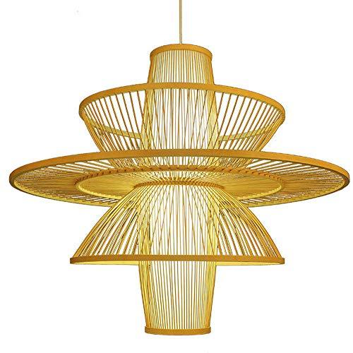 Fine Asianliving Pendelleuchte Hängelampe Bambus Handgefertigt - Nicole Pendelleuchte Beleuchtung Bambus Lampenschirm Geflochten Lampe Belechtung Rotan