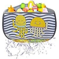 BRUNOKO Organizador de Juguetes para el Baño - Cesta Esquinera para Guardar Juguetes en el Baño - Bolsa Almacenamiento Colgante de Juguetes - Regalo Alargador de Grifo para Niños - Diseñado en España