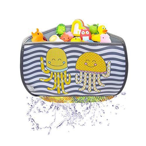 Brunoko Badspeelgoed organizer - Opberg badspeelgoed tas - Opbergsysteem bad speelgoed met 4 zuignappen bekers haken en Gratis verlenge - Badspeelgoed Zak - Ontworpen in Spanje