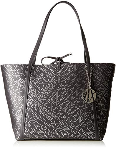 ARMANI EXCHANGE Medium Shopping Bag - Borse Tote Donna, Argento (Antracite/Argento), 28.0x13.0x49.0 cm (B x H T)