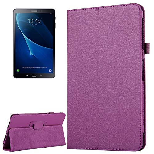 LLLi Tablet Accessories for GALAXY For Galaxy Tab A 10.1 / T580 Litchi Texture Magnetic Horizontal Flip Leather Case with Holder & Sleep/Wake-up Function(Black) (Color : Purple)