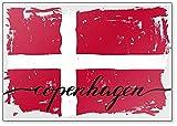 Kühlschrankmagnet mit dänischer Flagge, Dänemark, Kopenhagen, gemalte Grunge Illustration
