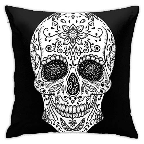 Lsjuee Funda de Almohada Mexicana Calavera Vector Tatuaje Dibujado a Mano Funda de Almohada Cuadrada 18 x 18 Pulgadas para Sala de Estar sofá Dormitorio