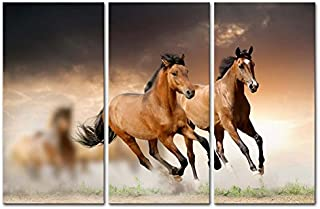Canvas Print Wall Art Painting for Home Decor Running Wild Horse Brown Horses Galloping in Sunset 3 Piece Panel Paintings Modern Giclee Artwork The Picture for Living Room Decoration Animal Pictures