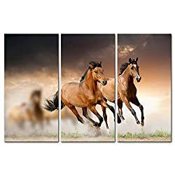 Running wild horses canvas wall art