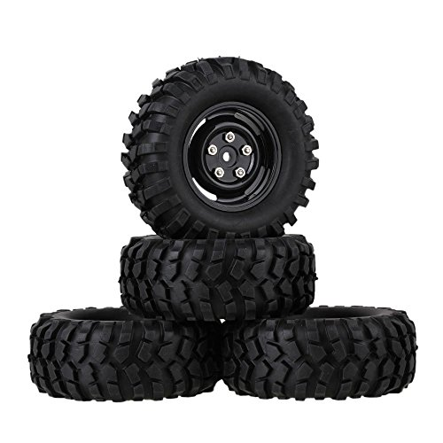 Mxfans 12mm Hex Black Plastic Wheel Rims with Screws & Rubber Tyres Tires for RC 1:10 Racing Climbing Rock Crawler Pack of 4