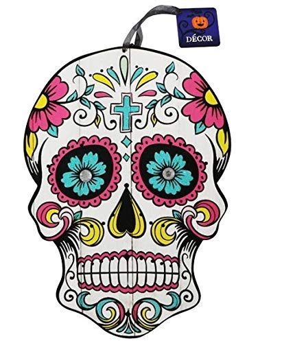 Halloween Decoration Day of The Dead Sugar Skull Hanging Wall Sign, 9.5x13 in (Cross)