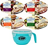 Thick & Easy Pureed Meals Variety, Roasted Chicken, Beef, Lasagna, and Roasted Turkey with By The Cup Serving Bowl