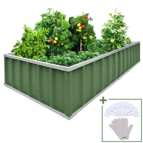 """Extra-Thick 2-Ply Reinforced Card Frame Elevated Raised Garden Bed Kingbird Galvanized Steel Metal Planter Kit Box Green 68""""x 36""""x 12"""" Including 8pcs T-Type Tags a Pair of Gloves"""