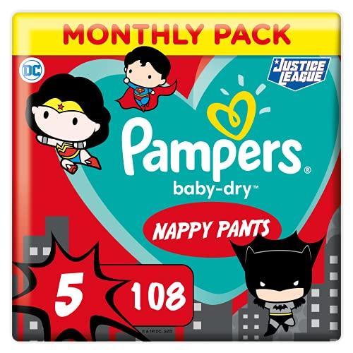 Pampers Couches-Culottes Baby-Dry Pants Taille 5 (12-17kg) Maintien 360° pour Éviter les Fuites, Faciles à Changer, Édition Super-Héros, 108 Couches-Culottes (Pack 1 Mois)