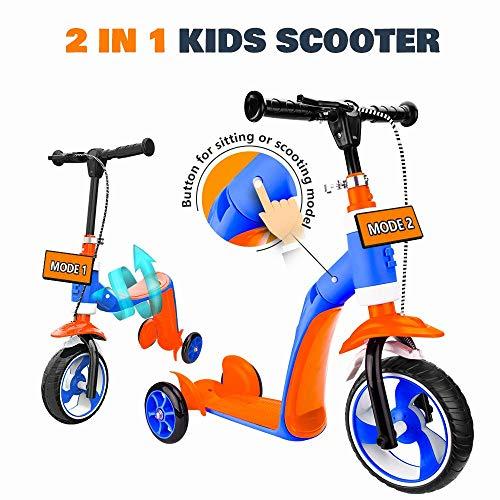 CHTOYS Kick Scooter voor Meisjes & Jongens, 2 in 1 Kids Scooter met Handrem, Verstelbare Handgreep, Extra-Wide Deck, De Nieuwste Outdoor Speelgoed voor 2 tot 7 Jaar Oude Kinderen