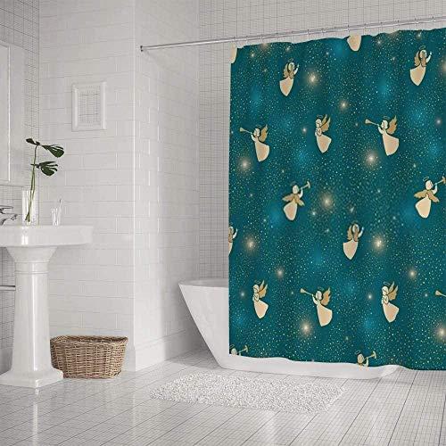 QAZX Badezimmer-Duschvorhang wasserdicht goldfarben niedlich kleine Engel Dunkles Cyan Polyester Mehrfarbig 180x180cm