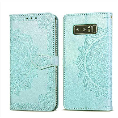 Bear Village Hülle für Galaxy Note 8, PU Lederhülle Handyhülle für Samsung Galaxy Note 8, Brieftasche Kratzfestes Magnet Handytasche mit Kartenfach, Grün