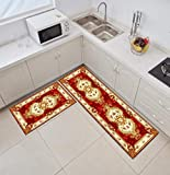 Kitchen Rug,L Shape 2 Pieces Vintage Kitchen Mats Runner Set Royal Red Flower Patterns Cushioned Anti-Fatigue Kitchen Rug for Floor Waterproof Washable Rugs for Kitchen Laundry Room Hallway Entry,50