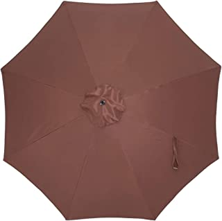 Crestlive Products Universal Patio Umbrella Replacement Canopy for 10ft 8 Ribs Offset Umbrellas (Brown)