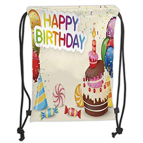 Fevthmii Drawstring Backpacks Bags,Birthday Decorations,Cute Composition of Candies Yummy Cake Confetti Party Hats Balloons, Soft Satin,5 Liter Capacity,Adjustable String Closure,