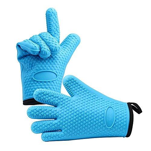 Oven Gants - Heat Resistant Silicone Oven & Grill Gloves Pour BBQ - Grip antidérapant de Qualité alimentaire, Withstand Heat Up To 425°F / 218°C! - Parfait pour la Cuisson et Barbecue