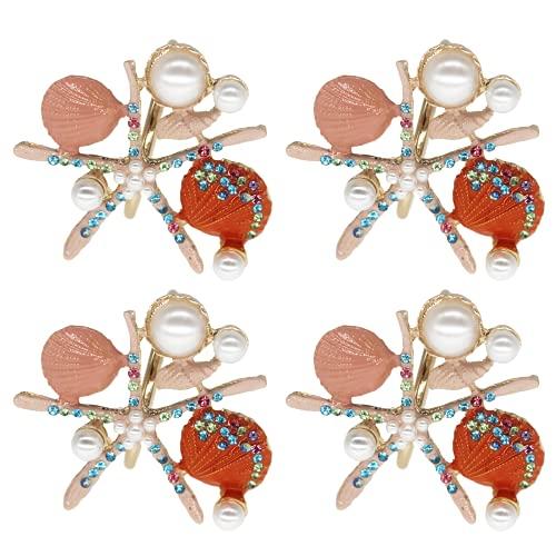 Allinlove Crystal Starfish Napkin Rings - Set of 4 Pearl Rhinestone Ocean Coastal Nautical Napkin Ring Holders Shell Napkin Buckle for Wedding Party, Beach Table Decor Banquet Dinner Decoration (Pink)