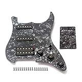 Alnicov Golpeador de guitarra eléctrica 3 capas SSH cargado precableado Humbucker Pickguard Pickguard Set para guitarra, negro perla