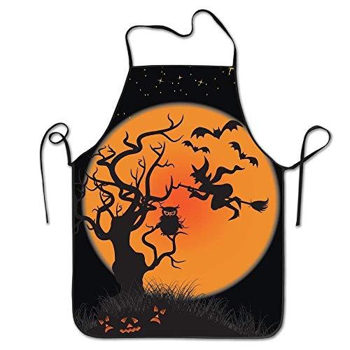 RP Amazing Gärtnerschürze,Damen Halloween Hexen Kürbisse Fledermäuse Eule Schürze Langlebige Kochschürze Zum Kochen Backen Grillen,52x72cm