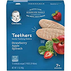 Gerber Teethers Gentle Teething Wafers - Strawberry Apple Spinach, 1.7 oz