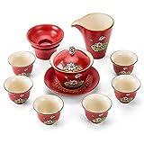 Juego de té de cerámica Conjunto de regalo de té chino Servicio de té de porcelana con 6 tazas de té Conjuntos de té Tea tradicional Ceremonia de té Kung Fu Juego de té de boda Decoración del hogar ju