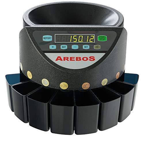AREBOS Münzzähler Geldzählmaschine/für Euro Münzen/Schwarz / 300 Münzen pro Minute