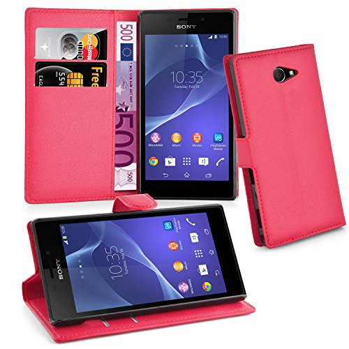 Cadorabo Hülle für Sony Xperia M2 in Karmin ROT - Handyhülle mit Magnetverschluss, Standfunktion & Kartenfach - Hülle Cover Schutzhülle Etui Tasche Book Klapp Style