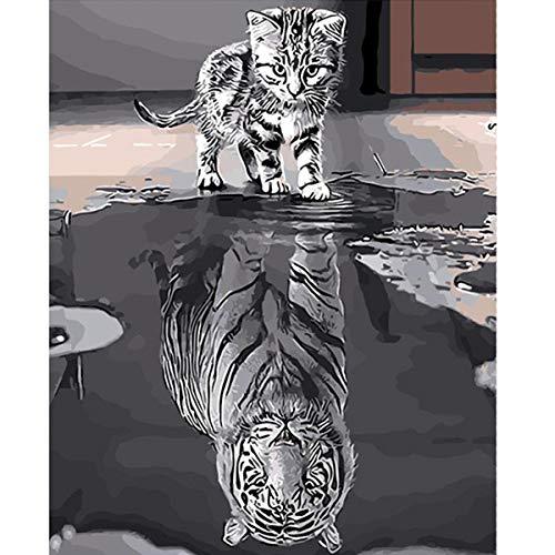 YIMAKJ Malen nach Zahlen, DIY Handgemalt Ölgemälde für Erwachsene Kinder Anfänger- Katze oder Tiger Leinwanddruck Wandkunst Dekoration Home Haus Deko 40 x 50cm