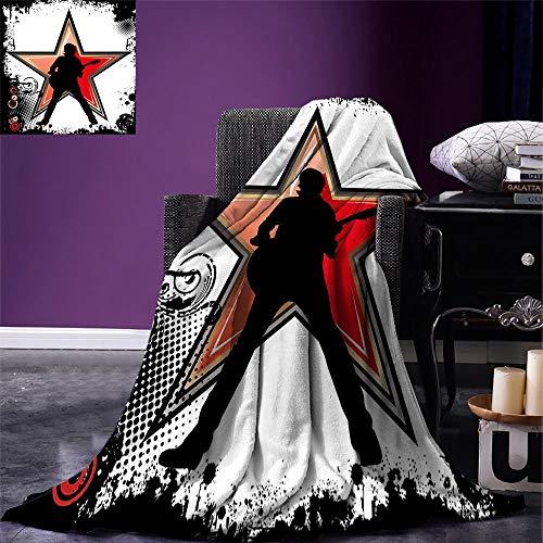 Fleece Blanket Rock Music Manta Liviana Guitar Player Star Abstract Monocromo Salpicaduras Y Patrón De Trama De Semitonos Negro Manta De Vellón Rojo Durazno Lightweight Home Hoste