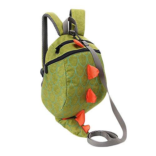 MCUILEE Dinosaurier Backpack,Leine Sicherheit Anti-verloren Rucksack für Baby Mädchen und Jungen,Grün