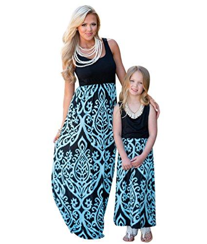 YOUJIA Boho Mütter und Tochter Familie Sommerkleid Rundhals Ärmellose Kleider MaxiKleid A Linie Strandkleid (#4 Blau, 9-10T)