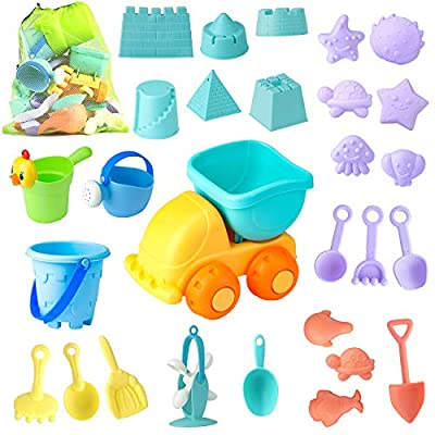 Beach Sand Toys Set for Kids - 28Pcs Sand Toys with Mesh Bag Includes Sand Truck, , Castle Bucket, Watering Can, Shovel Tool Kit, Sand Molds, Sandbox Toys Summer Outdoor Beach Toys for Toddlers Gift