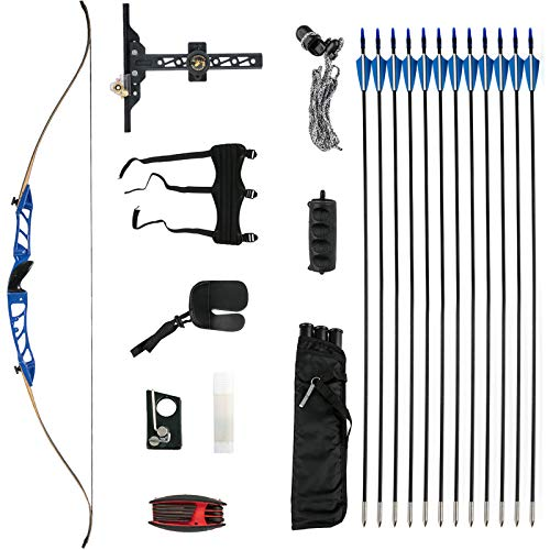 Bkisy Recurve Bow Set 20 28 32 36 38lbs Archery Bow Aluminum Alloy Takedown Recurve Bow Right Hand Bow with 12 Arrows for Adults Youth Hunting Shooting Practice Competition (Blue, 18 LBS)