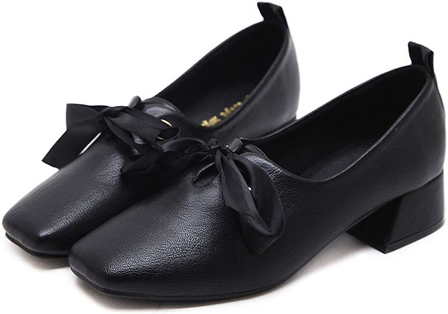 T-JULY Women Bowknot Square Toe Sweet Fashion Loafers Mid-Heeled Classic Penny Comfort shoes
