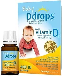 3瓶装 Ddrops 婴儿天然维生素D3 滴剂90滴 助钙吸收
