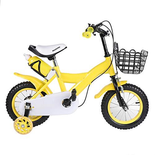 Bicicletta per bambini da 12 pollici con freno a contropedale, ruote di sostegno con cestino