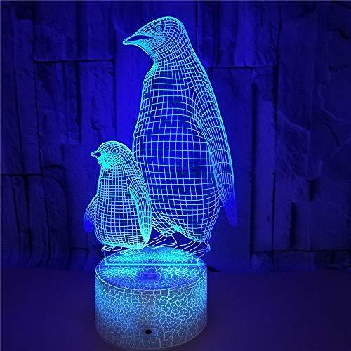 FREEZG Regalo Luz de Noche para Niños Pingüino animal dibujos animados Regalo para niños y niñas luz de noche 3D con 7 juguetes de color para niños de 8 a 12 años de edad lámpara 3D regalo de cumplea