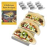 Qualicusine - Juego de 4 soportes de taco con soportes para libros de recetas con capacidad para hasta 3 tacos cada uno, aptos para horno, aptos para lavavajillas y parrilla, 10,16 x 20,32 cm