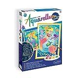 Sentosphere 3906416 Phospho Aquarellum Malset für Kinder, nachtleuchtend, Motiv Meerjungfrauen, große Malvorlagen, Bastelset, Kreativ-Set, DIY, blau -
