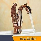 Cobre Cuenca Grifos nuevo diseño cisne del grifo de oro chapado lavabo grifo de oro de lujo del hotel grifería monomando grifos caliente y fría HJ-35K, Rosa de Oro
