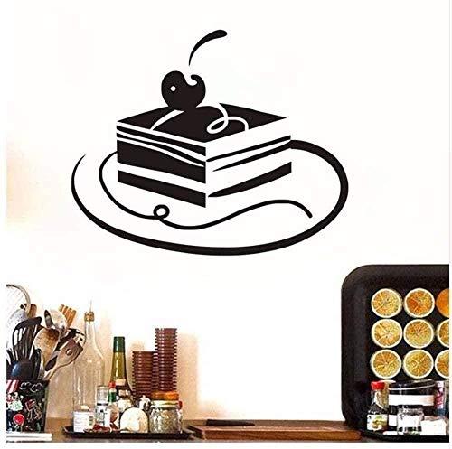 Pegatina de pared de vinilo etiqueta extraíble postre decoración de la casa pastel de cereza cuadrado delicioso decoración de la torta decoración de la fiesta de cumpleaños negra 44x36 cm