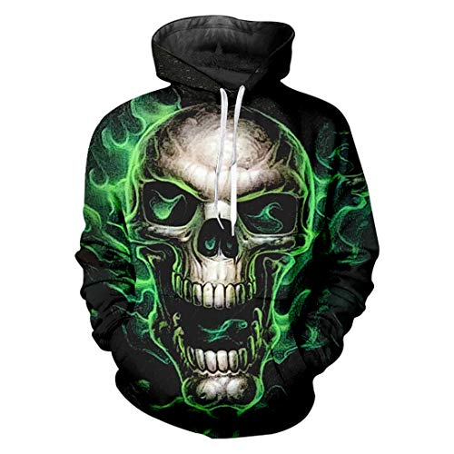 Herbst-Winter-Männer 3D-Druck Greeen SchädelHoodie Sweatshirts Man Hip Hop Pullover Green Skull XXL