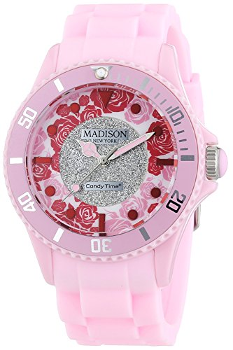 MADISON NEW YORK Candy Time Flower Power U4617-23 - Orologio da polso da donna, cinturino in silicone colore fucsia