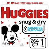 Huggies Snug & Dry Baby Diapers, Size 1, 264 Ct, One Month Supply