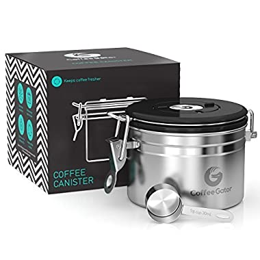 Coffee Gator Stainless Steel Container - Canister with co2 Valve and Scoop - Small, Stainless Steel