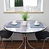 VioLife Tischdecke Tischfolie Tischschutzfolie Transparente PVC Folie Schutzfolie RUND Glasklar 2mm Made in Germany neu im Sortiment (abgeschrägte Kanten, Ø 120 cm) - 3